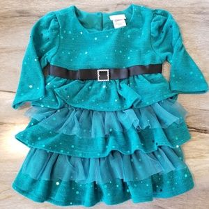 Youngland Knit Tdal Dress Tiered Sequins Tulle